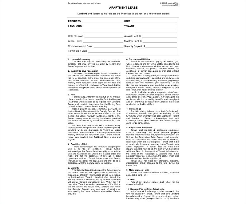 apartment lease contract