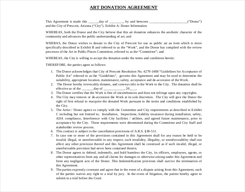 art donation agreement