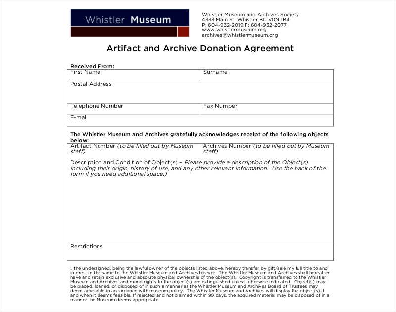 artifact donation agreement