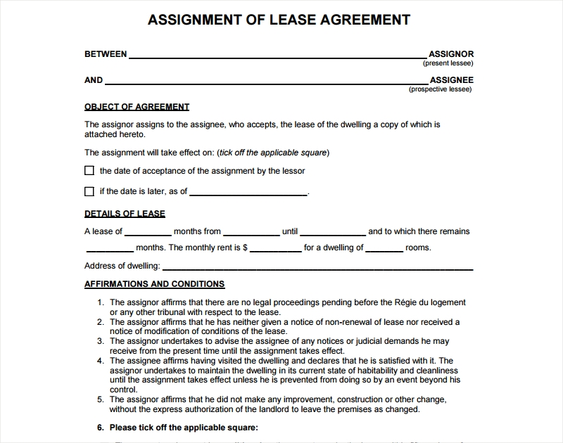 assignment of lease agreement