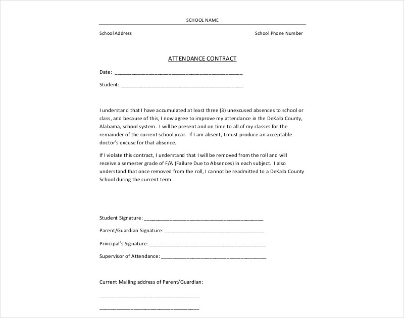 attendance contract example