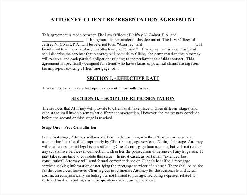 attorney client representation agreement