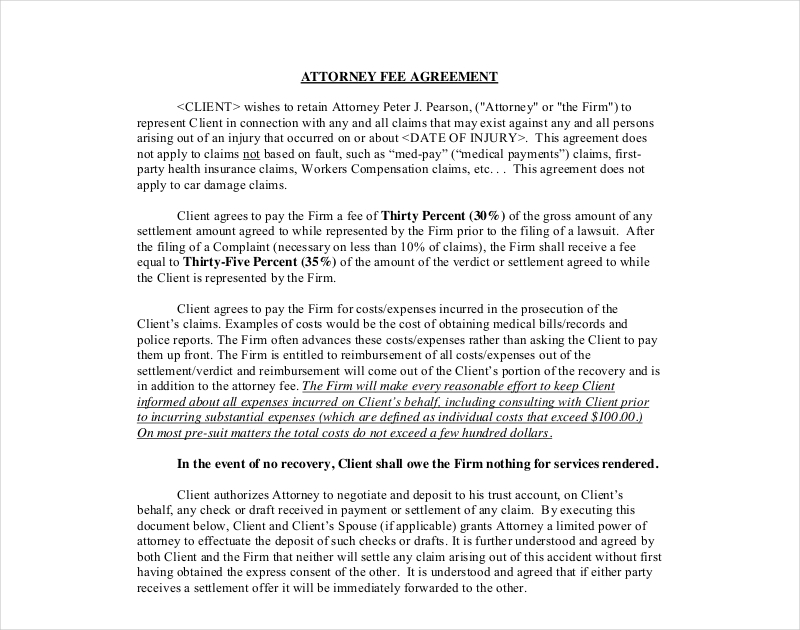 attorney fee agreement