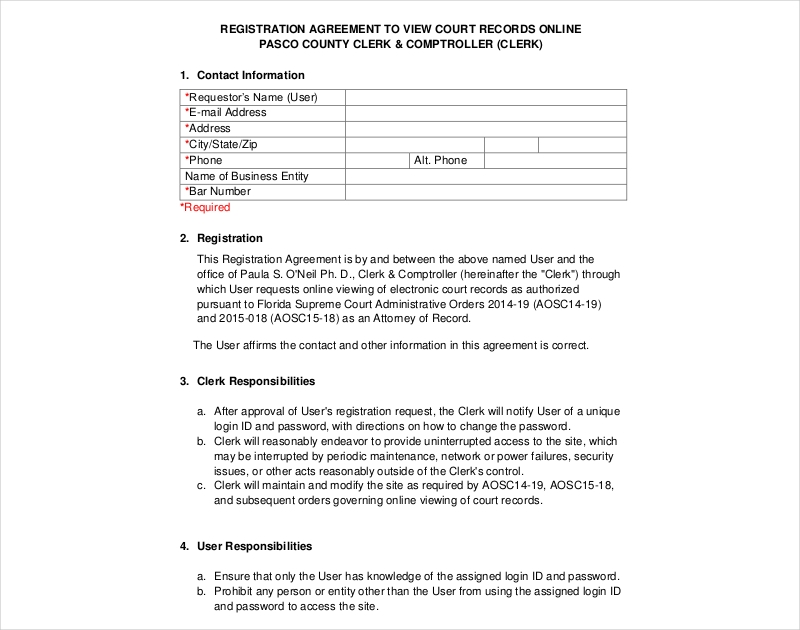 attorney record registration agreement