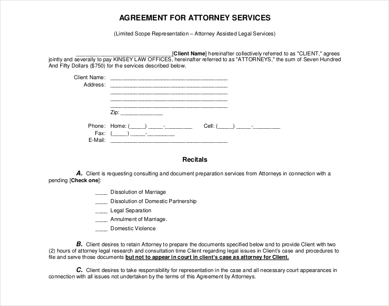 attorney services agreement