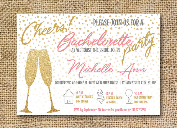 bachelorette hen party invitation