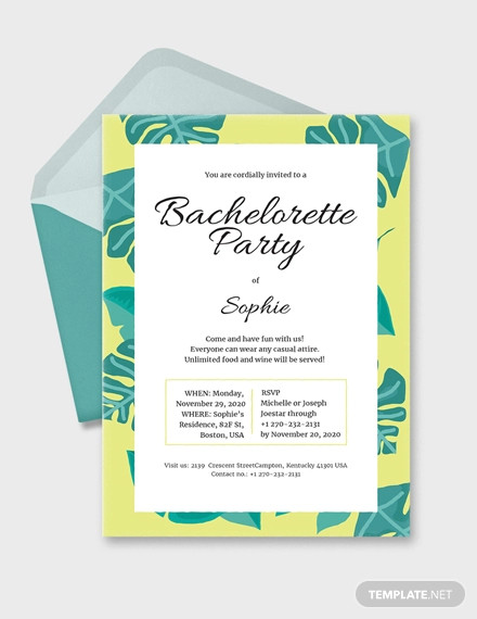 bachelorette invitation example