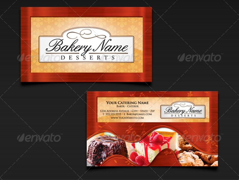 bakers catering business card templates