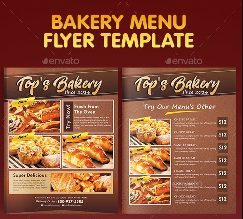 Bakery-Menu-Flyer-Design-Template Sales Order Form Examples on office lunch, for food sale, for pre op painmangaemnt, excel product, for multiple customers excel,