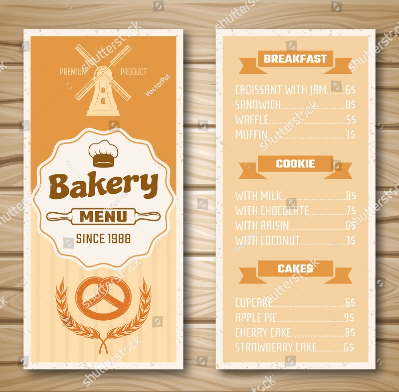 bakery shop vector menu