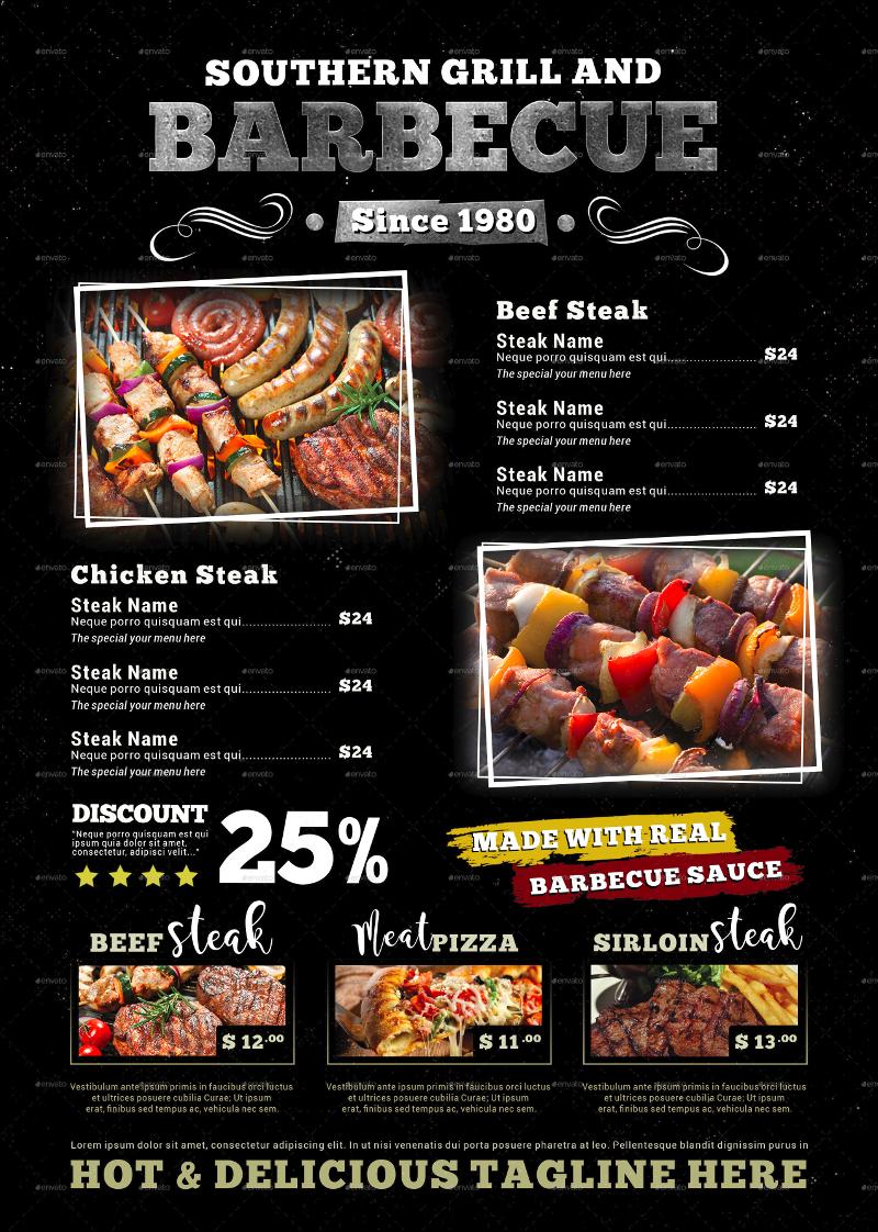 barbecue steak menu