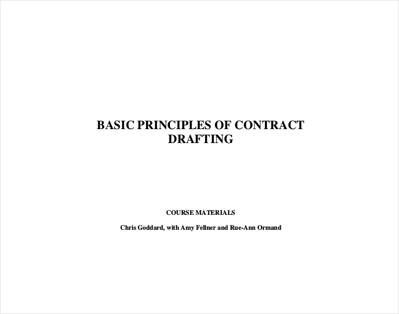 basic principles for contract drafting