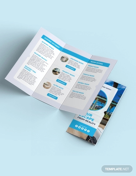 beach resort tri fold template