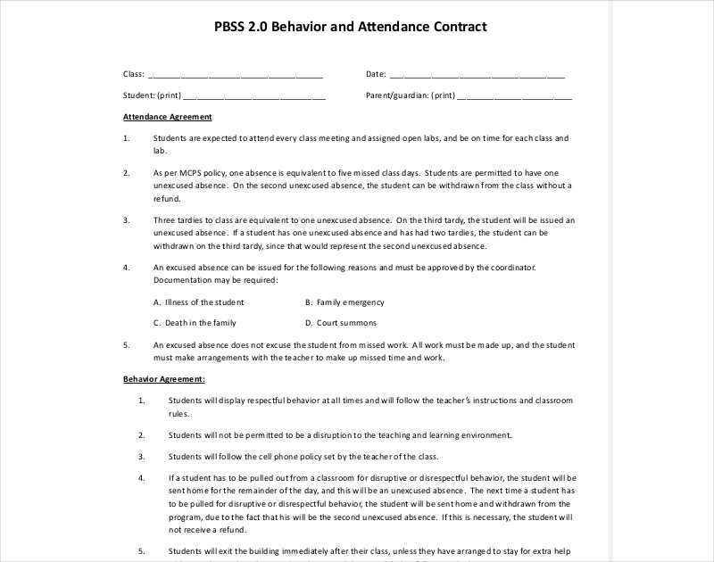 behavior and attendance contract example