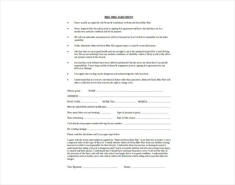 bike hiring contract