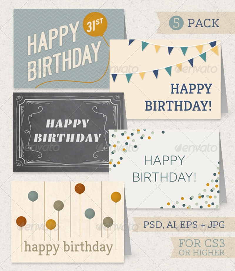 birthday greeting card pack