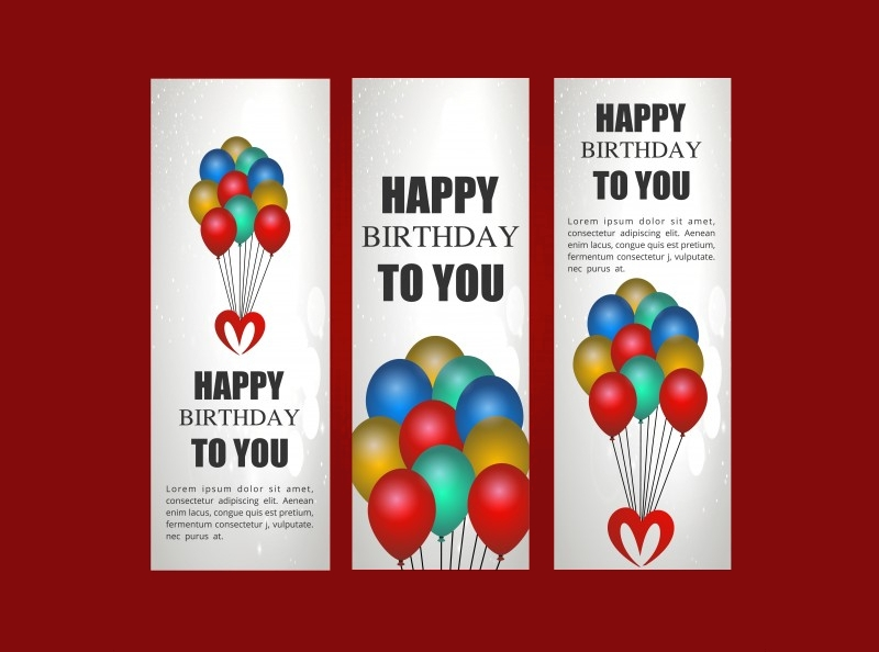 birthday party banner with balloons