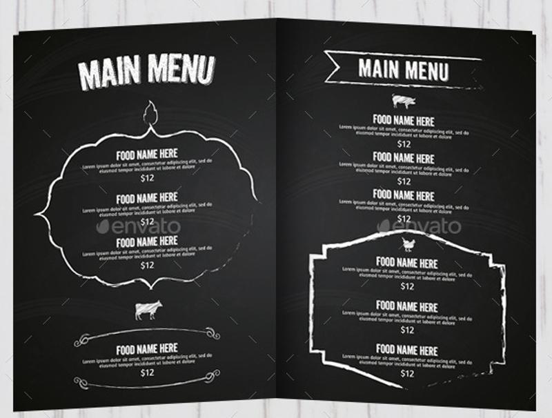 black barbecue menu