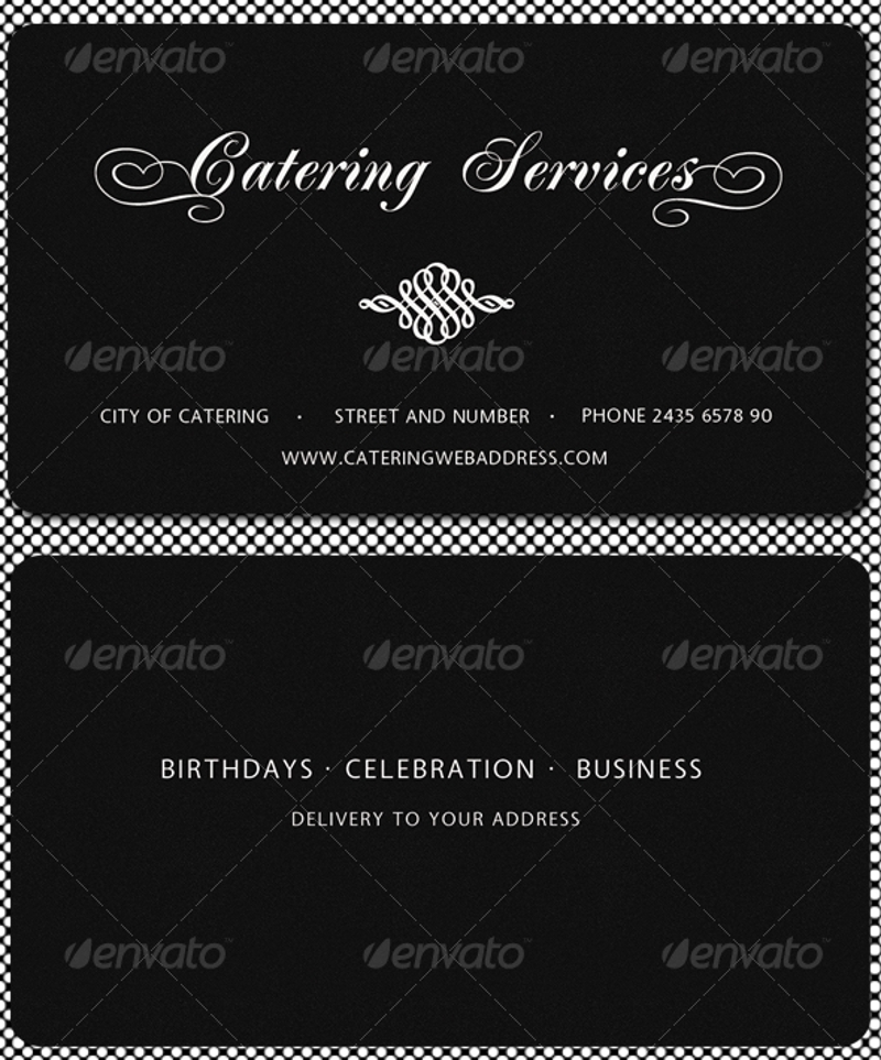 black catering services business card