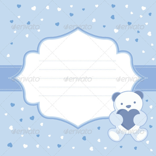 blue greeting card with teddy bear