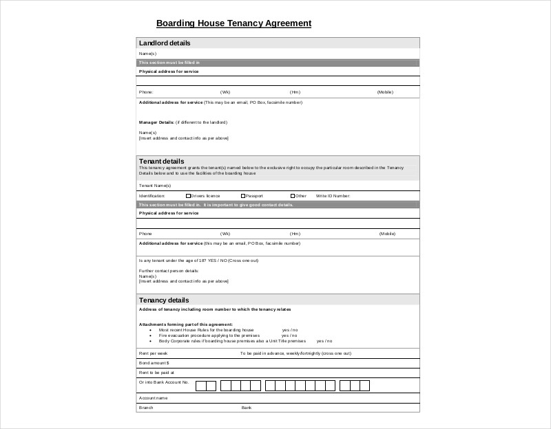 boarding house tenancy agreement