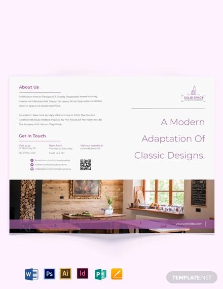 bohemian theme interior bi fold brochure template