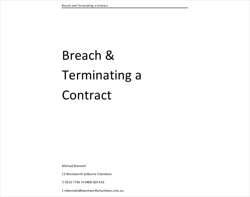 breach repudiation and terminating a contract