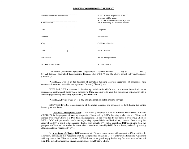 broker commission agreement