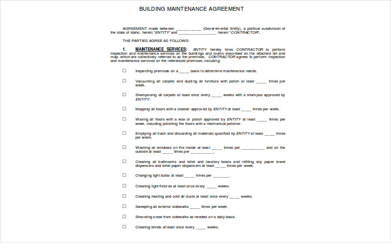 building maintenance agreement