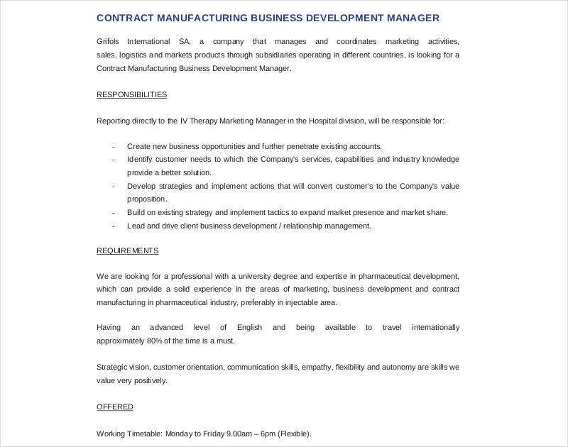 business development contract