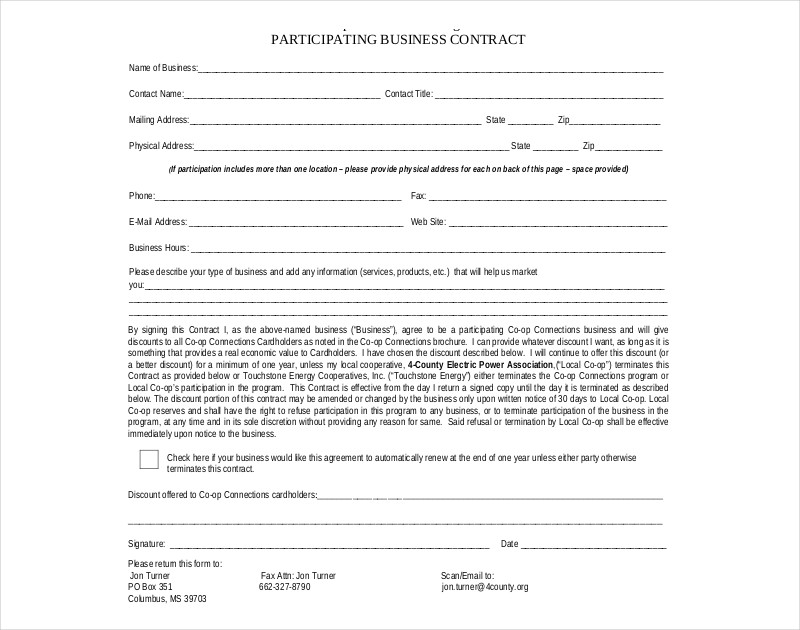 business participating contract