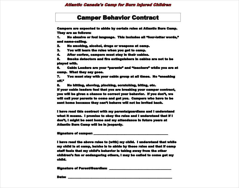 camper behavior contract1