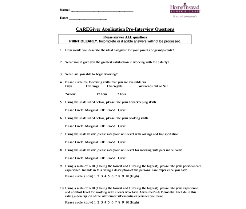 care giver pre interview questionnaire