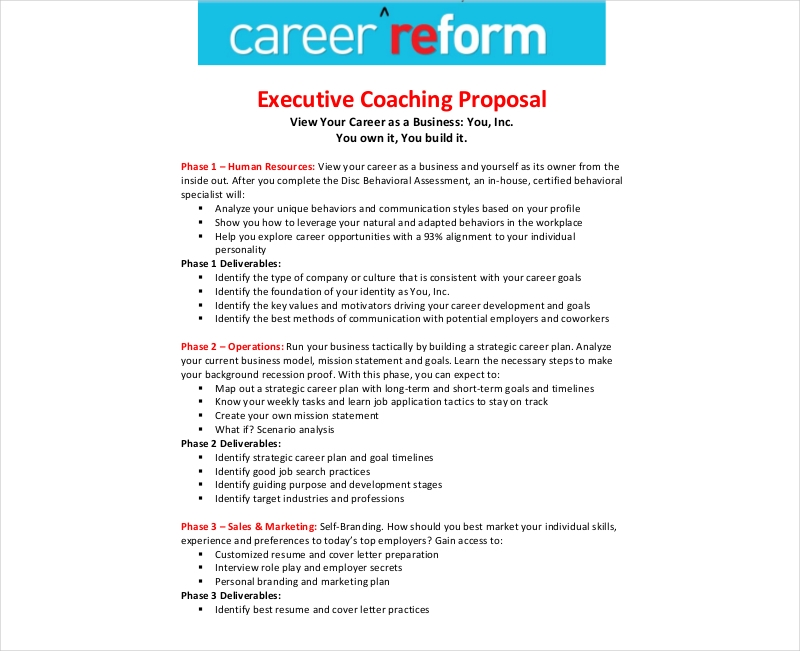 Career Reform Executive Coaching Proposal