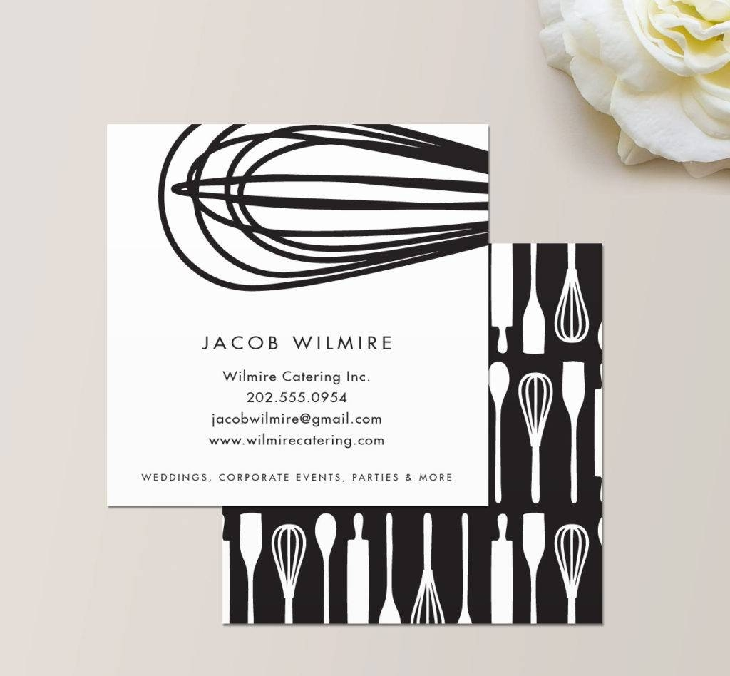 catering chef square business card