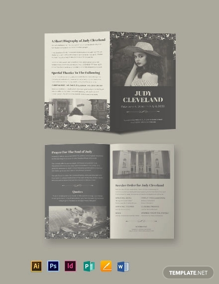 celebration of life eulogy funeral bi fold brochure template
