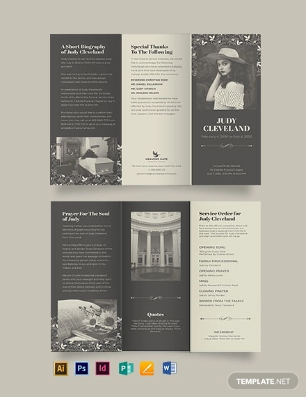 celebration of life eulogy funeral tri fold brochure template