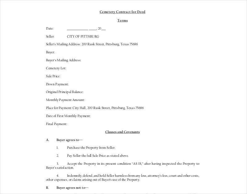 cemetery contract for deed