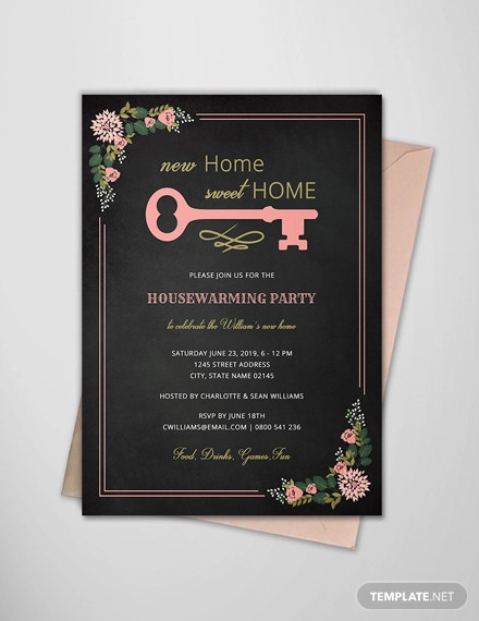 chalkboard housewarming invitation template