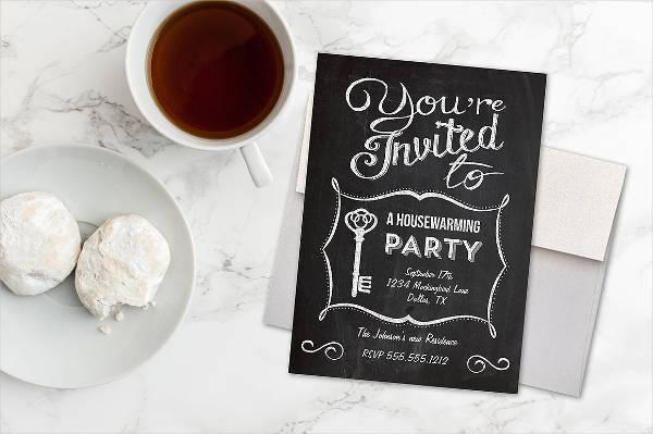 chalkboard housewarming invitation