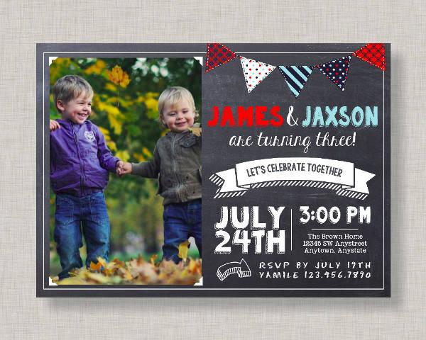 chalkboard twin birthday invitation