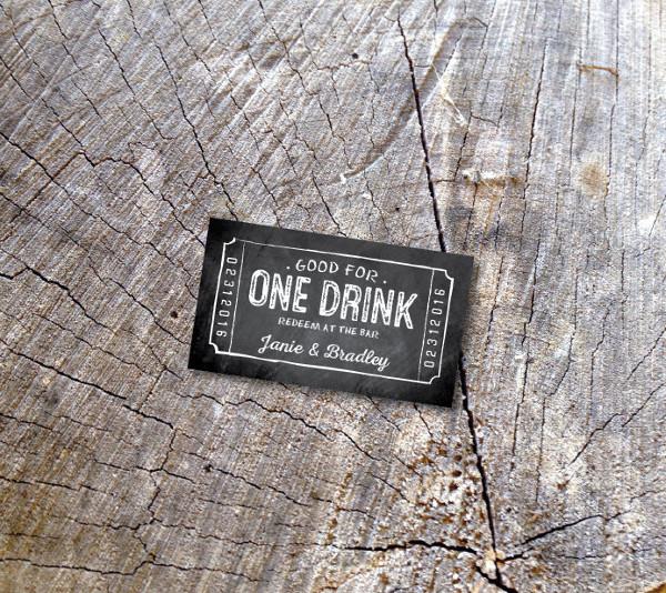 chalkboard wedding drink coupon