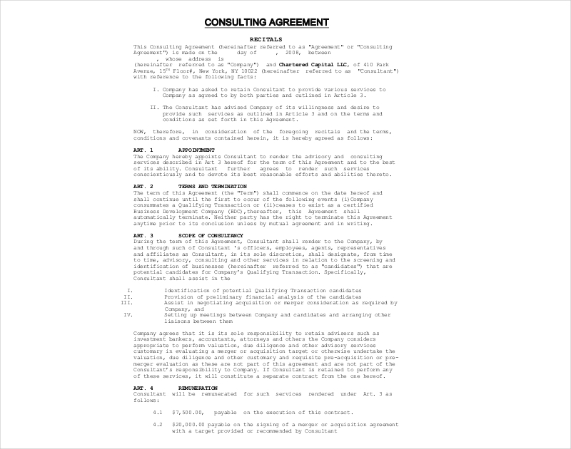 charted company consulting agreement