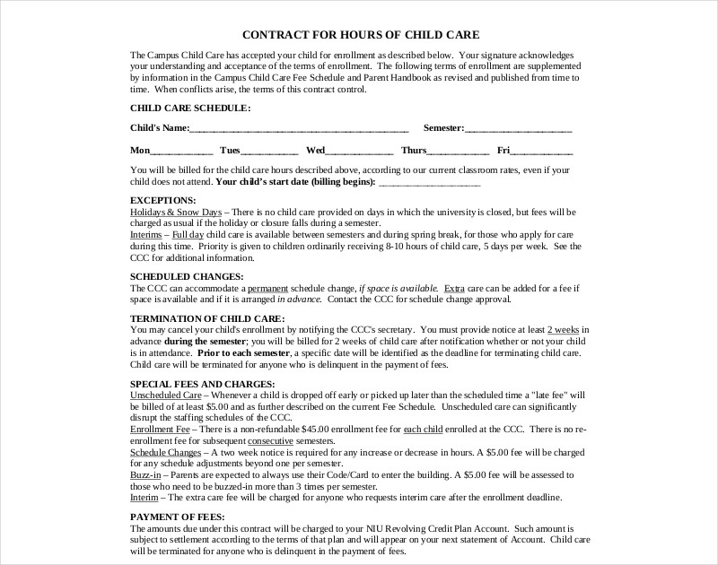 child care contract printable