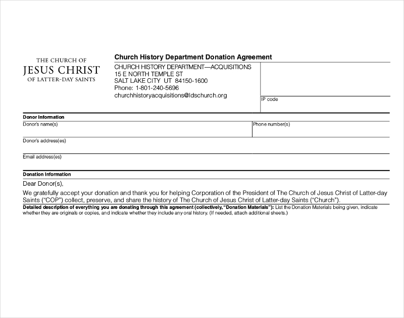 church history department donation agreement