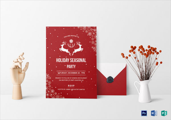 colorful festive holiday party invitation
