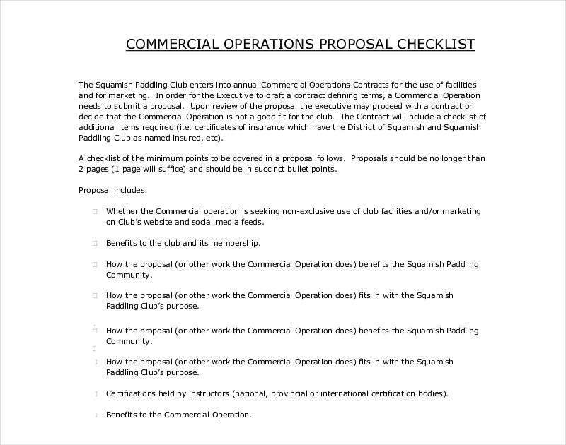 commercial operation proposal checklist