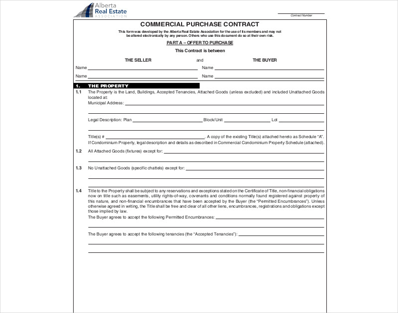 commercial purchase contract