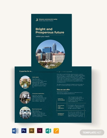 commercial sale bi fold brochure template