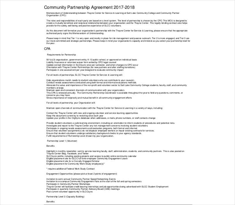 community partnership agreement